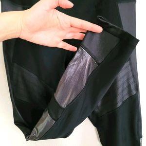 RBX   Black Moto Leggings Metallic Sheer Panel L